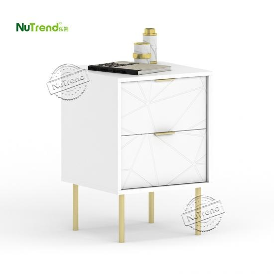 wholesale White Small 2 Drawer Gold Metal Leg Nightstand Bedside Table With Storage Supplier China