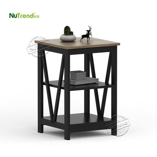 wholesale Dark Walnut Wooden 2 Tier V Shaped End Side Table Supplier China