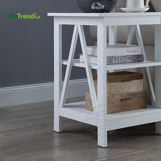 wholesale wooden white two shelf end table for sofa furniture factory