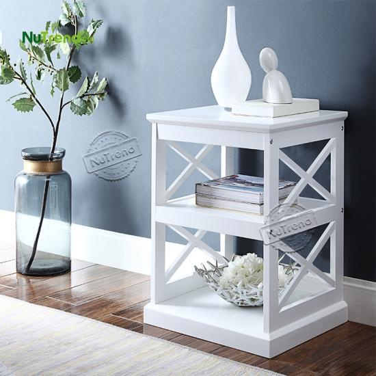 wholesaleDouble X Shape Rustic White Bedside Table Nightstand With 2 Shelf  factory